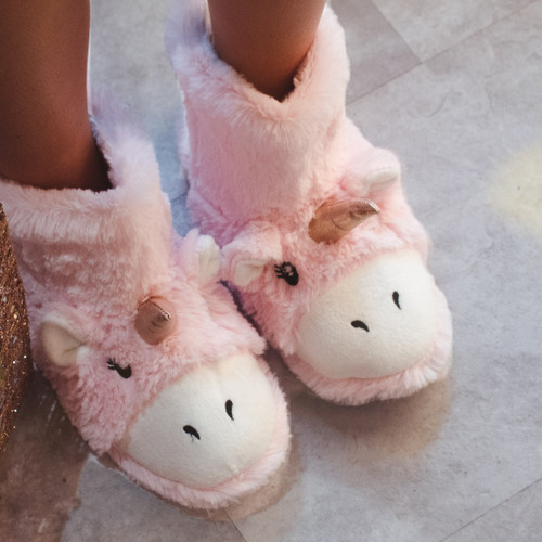 Spot On Ladies Unicorn Bootee Slippers - X2111