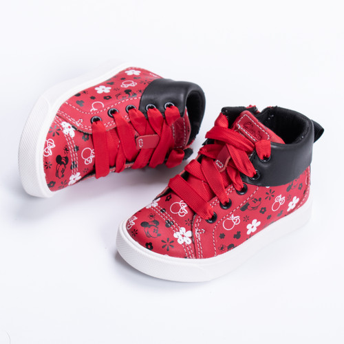 Girls Clarks Disney Minnie Mouse Detailed Hi Top Trainers City Mouse T