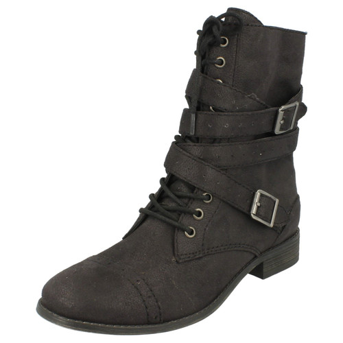 Ladies Coco Military Style Lace Up  Flat Boots - L8R641