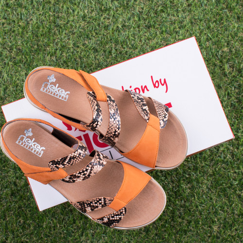 Ladies Rieker Strappy Wedge Heeled Sandals V5069