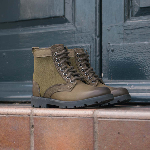 Boys Clarks Lace Up Combat Style Boots - Heath Chard K