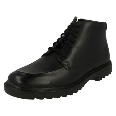 Clarks Boys Black Leather Ankle Boots /'LilFolk Jax/'
