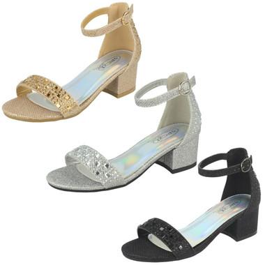 Girls Spot On Summer Glitter Sandals H0128