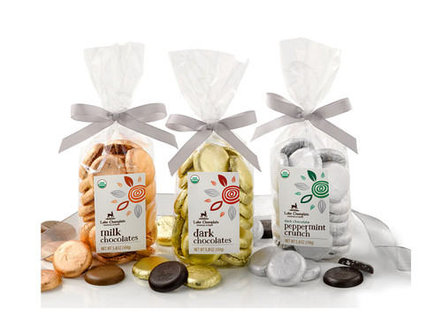 Milk, Dark, and Dark Peppermint Crunch Organic Chocolate Coin Bags  View Product Image