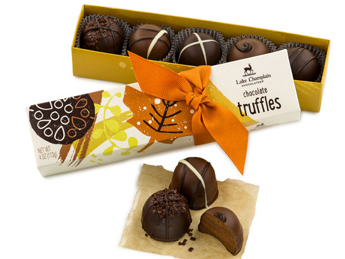 Assorted Milk and Dark Chocolate Gourmet Truffles in an autumn themed gift box View Product Image