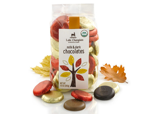 Organic Milk and Dark Chocolate Coins in fall packaging View Product Image