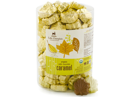 Bulk Organic Milk Chocolate Caramel Leaves View Product Image