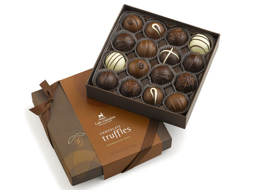 Assorted Milk and Dark Chocolate Gourmet Truffles in a gift box View Product Image