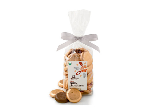 Organic Milk Chocolate Coins wrapped in copper foil and packaged in a gift bag View Product Image