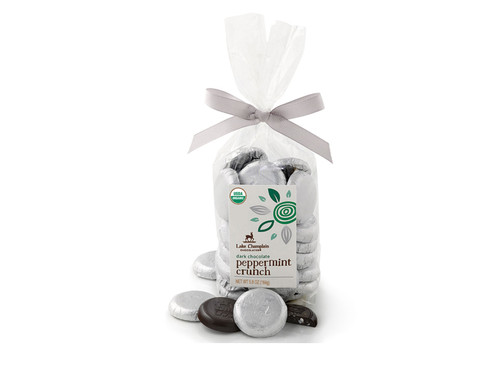 Organic Dark Chocolate Mint Coins wrapped in silver-white foil packaged in a gift bag View Product Image