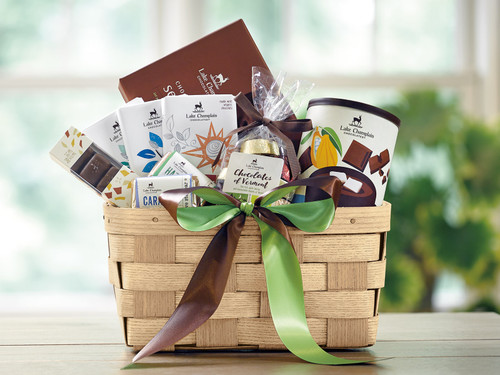 Gift basket filled with assorted gourmet chocolates made in Vermont View Product Image