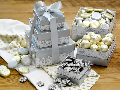 Assorted gourmet dark chocolate tower in holiday themed packaging View Product Image