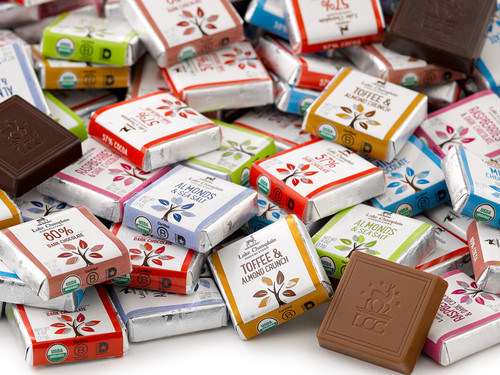 Assorted organic chocolate squares in bulk View Product Image