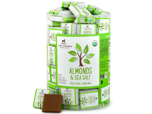Organic Milk Chocolate Almonds & Sea Salt squares in bulk View Product Image