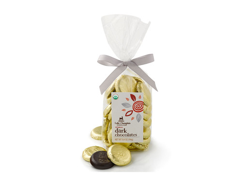 Organic Dark Chocolate coins wrapped in gold foil packaged in a gift bag View Product Image