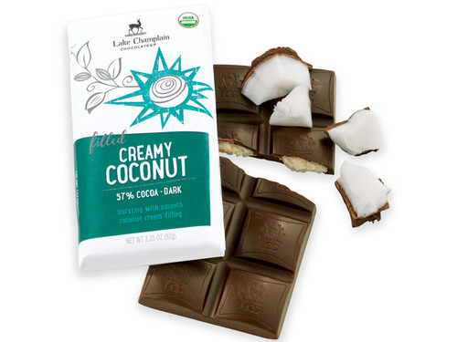 Organic Creamy Coconut Filled Dark Chocolate Bar View Product Image