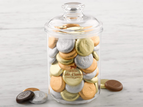 Assorted Organic Milk and Dark Chocolate Coin gift jar View Product Image