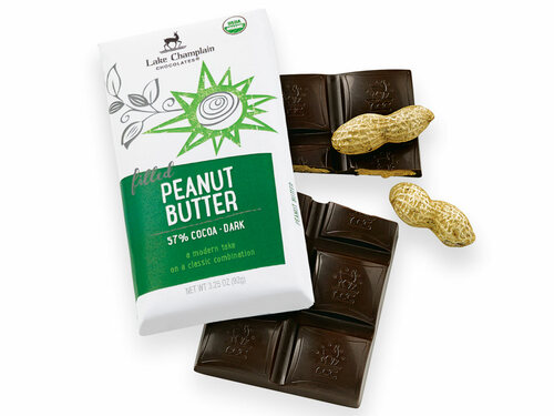 Organic Dark Chocolate Peanut Butter Filled Candy Bar View Product Image