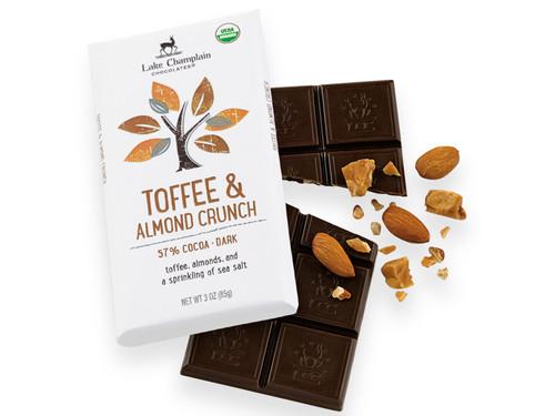 Organic Toffee & Almonds Dark Chocolate Bar View Product Image