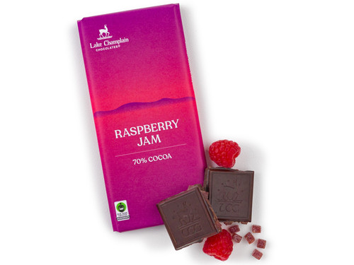 Extra dark chocolate bar with raspberry gummies View Product Image