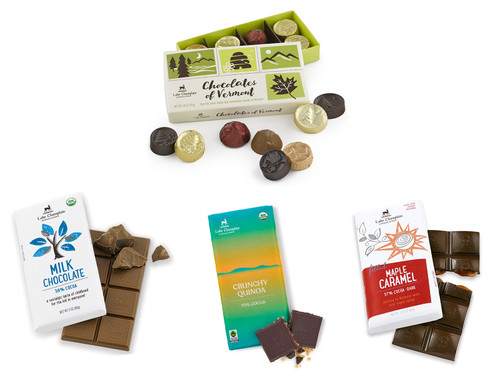 Assorted gourmet chocolate bars and chocolates of Vermont for virtual tasting event View Product Image