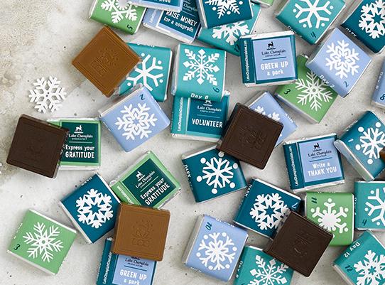 snowflake chocolate squares