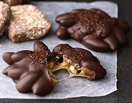 Irresistibly delicious dark chocolate almond caramel clusters
