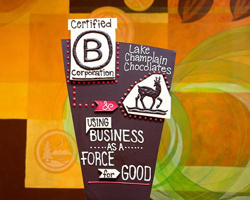 B Corporation chocolate sculpture