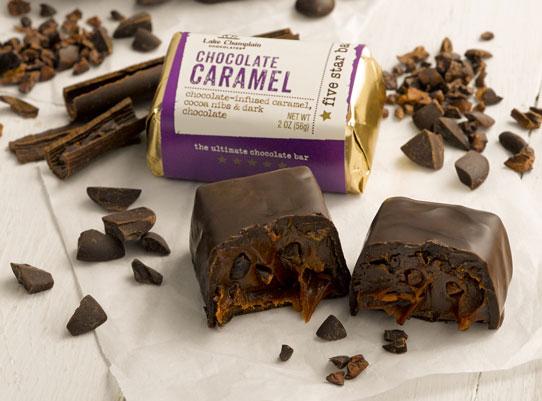 cut Chocolate Caramel Five Star Bar