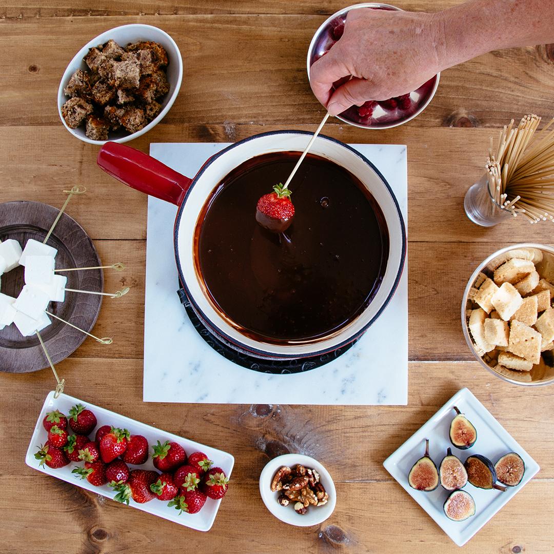 pot of chocolate fondue