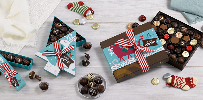 holiday boxes of gourmet chocolate