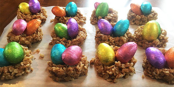 coconut nests filled with chocolate eggs