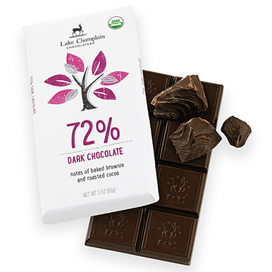 72% cocoa content dark chocolate bar