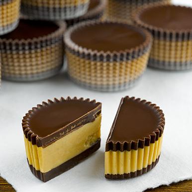 Pile of dark peanut butter chocolates