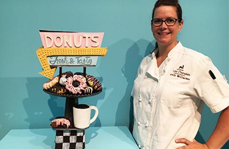 Emily McCracken and donut chocolate sculpture
