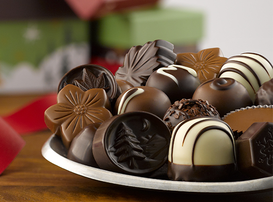 plate of holiday chocolates