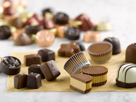 a selection of gourmet handcrafted chocolates