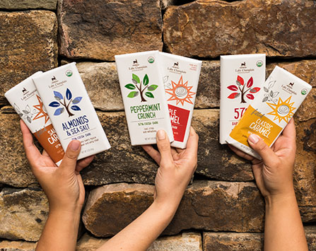Hands holding up organic gourmet chocolate bars against a stone background