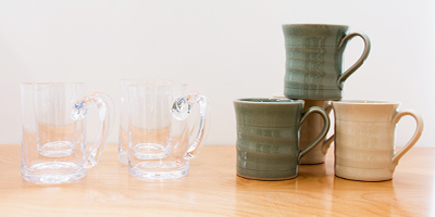 handcrafted hot chocolate mugs by Simon Pearce