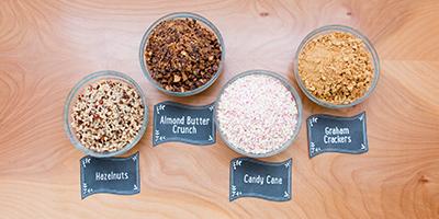 bowls of hot chocolate bar toppings