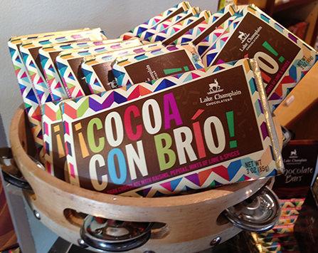 limited-edition Cocoa con Brio bars in a tambourine