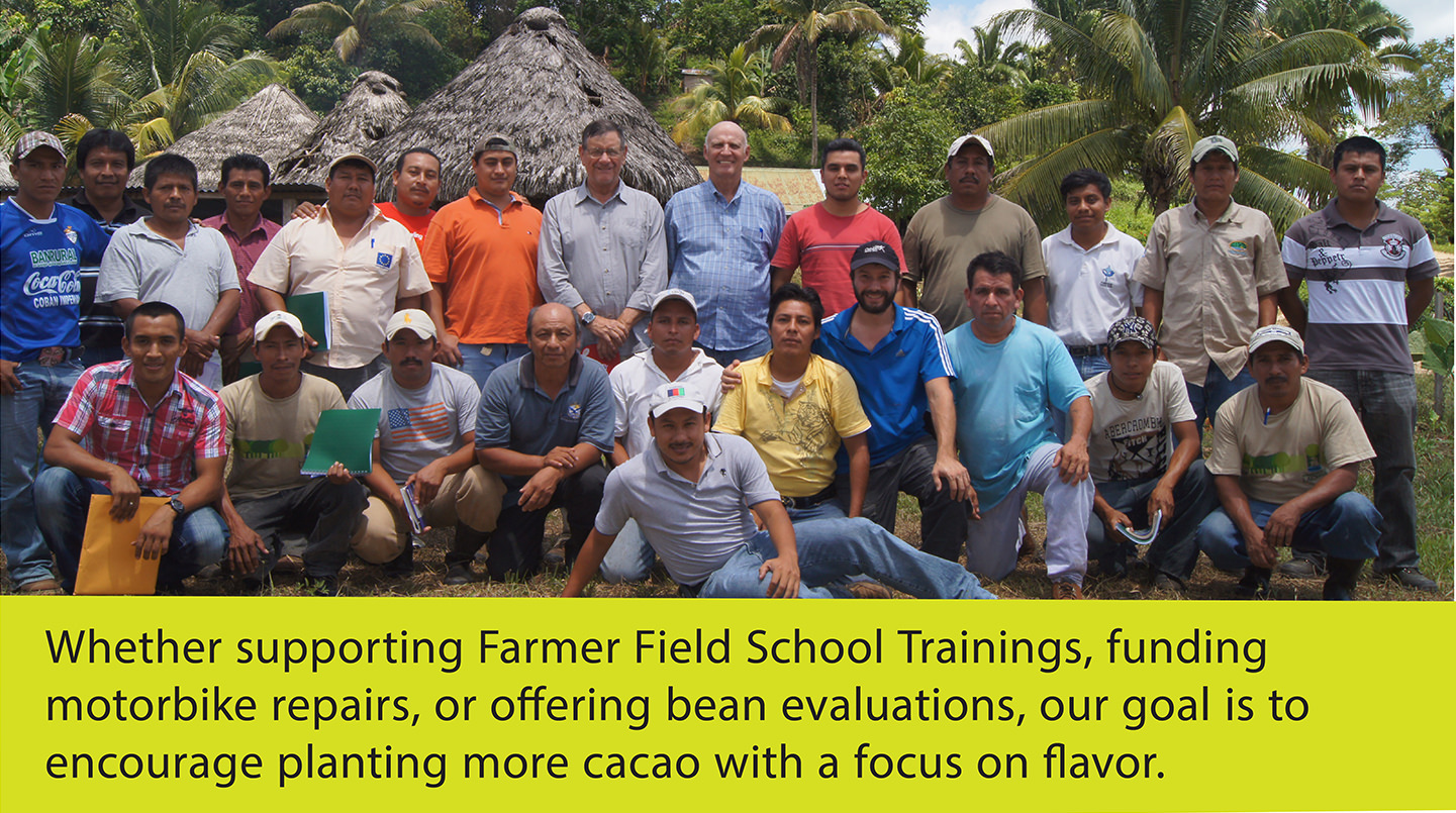 group of cocoa farmers at training school