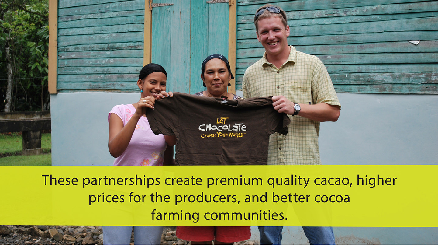 Eric with a community of cocoa farmers