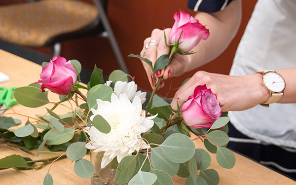 learning how to arrange flowers