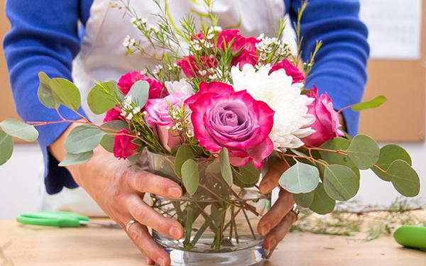 pink DIY flower arrangement
