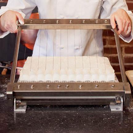 Cutting fresh gourmet marshmallows