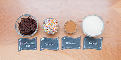 bowls of sprinkles for hot chocolate bar drink creations
