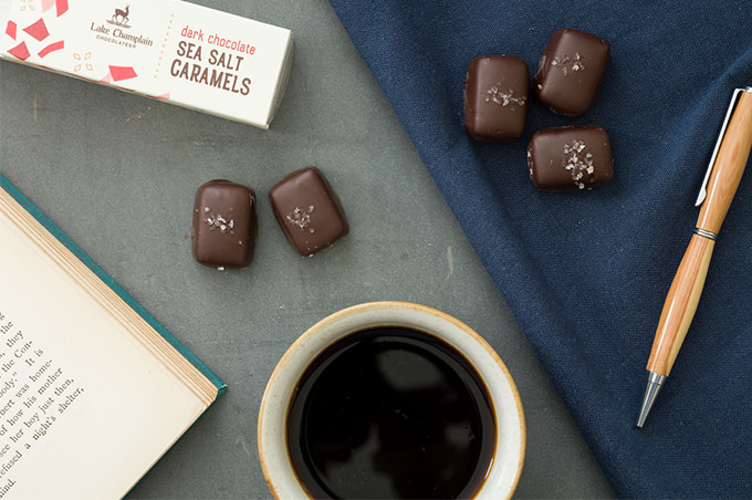 sea salt caramels with a mug of coffee