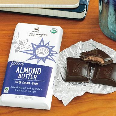 Almond butter chocolate bar on a work desk