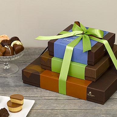 Assorted gourmet chocolate gift box tower